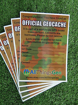 Official Geocache Label Sticker Camouflage Coloured 80mm x 110mm