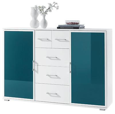 Highboard Sideboard Kommode Murano Weiss Petrol 2 Glasturen 5
