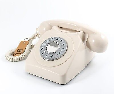 Retro GPO 746 Push Button Dial Telephone Vintage Style Phone  - Ivory Cream