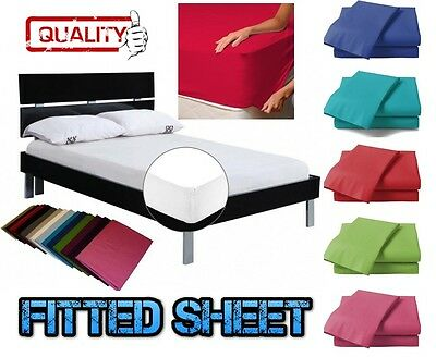 Poly Cotton Fitted Sheet Single 4ft Small Double King Super King or Pillowcases