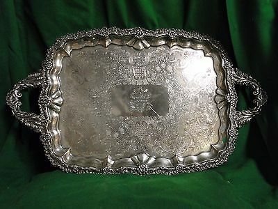 Silver Plated Old Sheffield Tray Engraved Cast Border 1840, English Antique