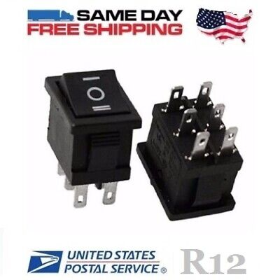 MINI ~ Double Pole Double Throw ~ DPDT 6 PIN (on-off-on) 10A ~ Rocker Switch x 2
