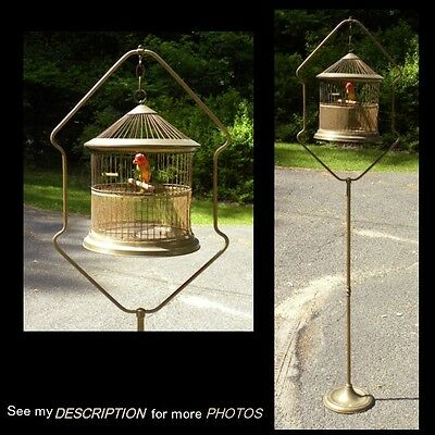 Antique Bird Canary Brass Asian Style CAGE & STAND hendryx era