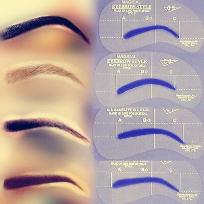 4 x Eyebrow Stencil Grooming Shaper Liner Template Make Up Shaping Tool C5 to C8