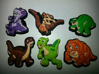 6 Land Before Time DINOSAUR SHOE CHARMS LOT SET FOR CROC SHOES JIBBITZ BRACELET