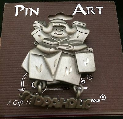 Spoontiques Pewter Pin Art Brooch Shopaholic Woman With Shopping Bags