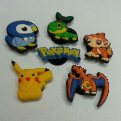 6 Pokemon Game Characters Shoe Charms Lot Set For Croc Shoes Jibbitz Bracelets