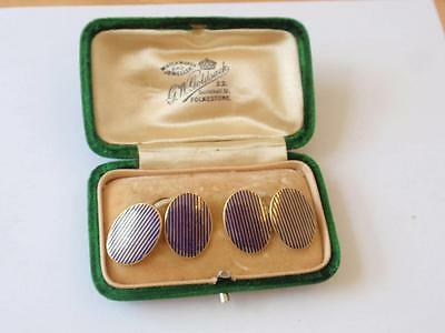 Vintage 1920S 18Ct. Gold & Blue Enamel Cufflinks, Boxed