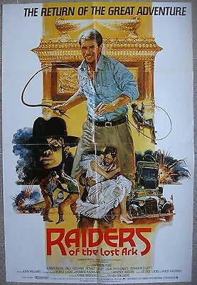 """English 1 st Movie poster 27x40"""" RAIDERS OF THE LOST ARC Spielberg Film 1981 VF"""