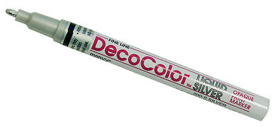 Uchida Silver Decocolor Glossy Oil Based Fine Line Opaque Paint Marker 200-S