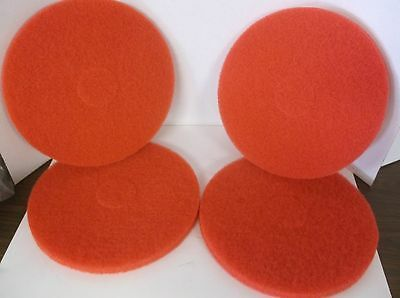 """New Lot of 4 6XZZ8 14"""" Red Recycled Buffing Pad,  Polyester Fiber (C41F)"""