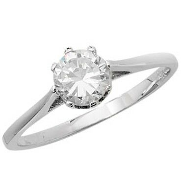 925 Sterling Silver Ladies Cubic Zirconia Solitaire Ring 1.8gr - FREE SHIPPING