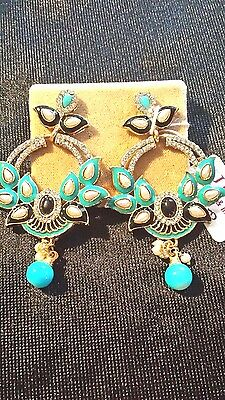 Antique gold plated , ethnic indian, handmade,pearl drop,Cubic Zirconia earrings