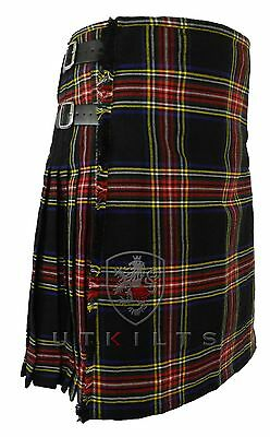 Black Stewart Mens Tartan Kilt 16oz  - 8 yards