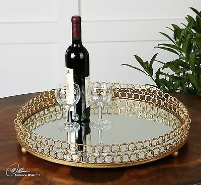 """21"""" Gold Leaf Metal Chain Style & Mirrored Interior Decorative Tray Contemporary"""