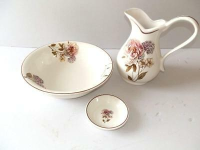 Set TOILETTE catino brocca piattino ceramica MADE IN FLORENCE DECORO FIORI