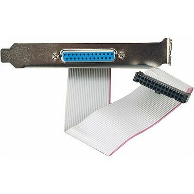 """Parallel Port Header Cable Adapter I/O 16"""" with Bracket DB25 & IEEE 1284 Foxconn"""