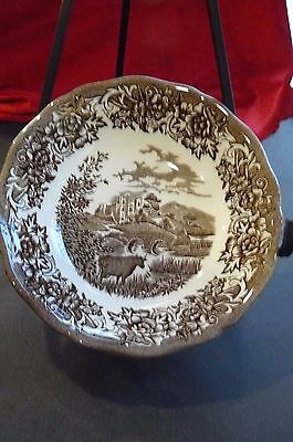 """J&G Meakin """"Romantic England"""" Brown & White Soup Bowls 6.5 inches"""