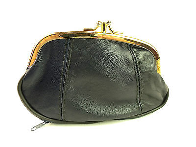 Ladies Girls High Quality Super Soft Navy Blue Genuine Leather Coin Purse Pouch
