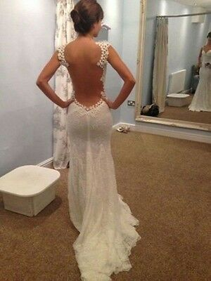 Sexy Backless White/Ivory Sweetheart Lace Mermaid Wedding Dress Custom Made New