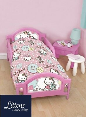Hello Kitty Stitch Junior Toddler Cot Bed Bundle, Duvet, Pillow, 4 in 1