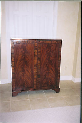 Antique English Flame Mahogany Chippendale Linen Cupboard Circa 1830