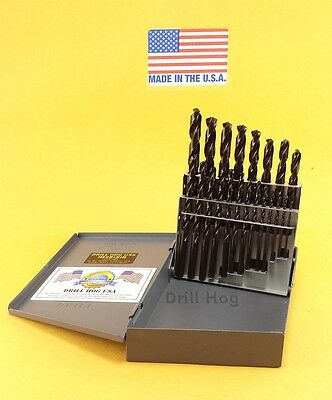 Drill Hog® 21 Pc Drill Bit Set Pig Steel M60 JR Lifetime Warranty MADE IN USA