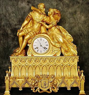 Astonishing Museum Very Large Heavy Empire French Antique Gilt Bronze Clock 19Th