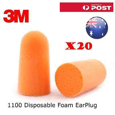 20 pairs X 3M 1100 Disposable Foam Ear Plug Noise Reducer EarPlug Uncorded