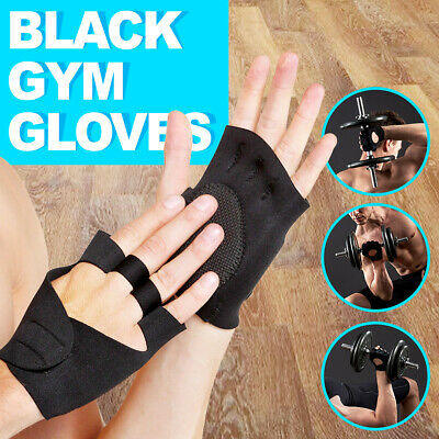 Black GYM GLOVES Neoprene Weight Lifting cycling Fitness Brand new