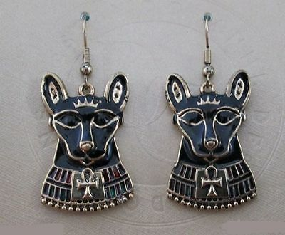 Egyptian Cat Goddess Bast Bastet Black Enamel Feline Animal Earrings #2326