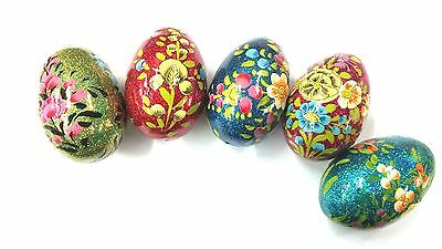 Set of 5 different authentic wood Easter chicken glow egg from Jerusalem lot