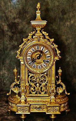 Beautiful Japy Freres French Antique Gilt Solid Bronze Clock C.19Th