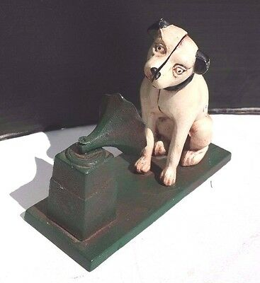 Vintage Large RCA Victor Nipper Dog CAST IRON PHONOGRAPH Coin BANK