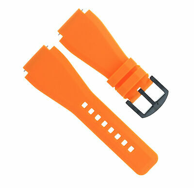 24Mm  Rubber Watch Band Strap For Bell Ross Br-01-Br-03 Orange Black Pvd Buckle