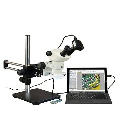 OMAX 6X-50X USB3 14MP Zoom Stereo Microscope on Ball-Bearing Boom+144-LED Light
