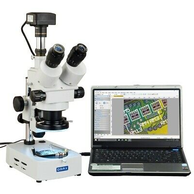 OMAX 3.5X-90X USB3 14MP Trinocular Zoom Stereo Microscope+Desk Stand+144LED Ring