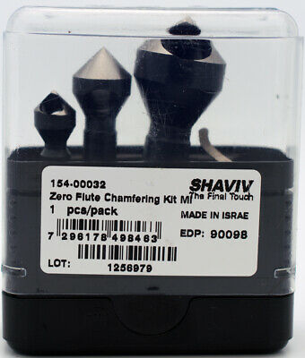 "Shaviv Zero Flute Chamfering 4pc Kit for Holes up to 20mm or 13/16"" w/B12 Bit"