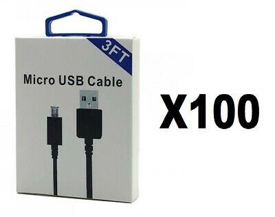Lot Of 100 3 Feet High Quality Micro Usb Cable For Samsung Lg Htc Android Phones
