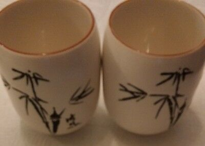 Vintage Japanese Black and White Porcelain Sake/Tea Cups with Bamboo Trees