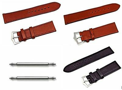 22 mm 24 mm Black Tan Brown Men's Leather Replacement Watch Wrist Band