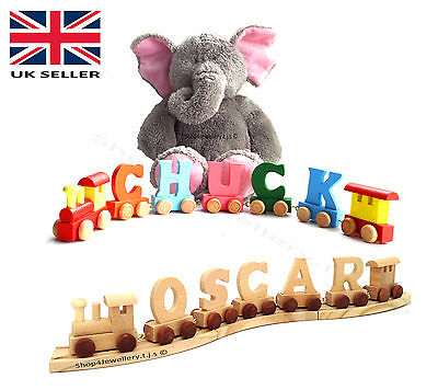 Wooden Toy Train Alphabet Name Letters Children Gift Christenings Kids Learning