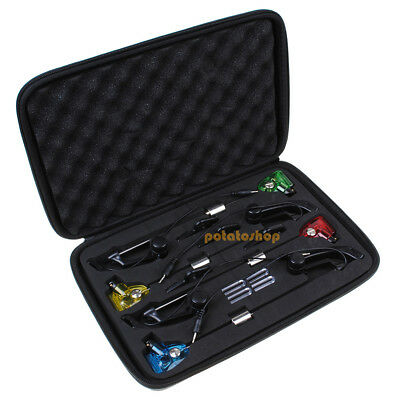 4 Swingers Indicators LED Bite Alarms Illuminated Carp Fishing Set W/ Carry Case