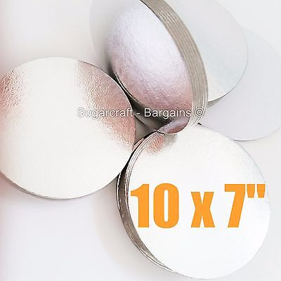 "10 x 7"" Round SILVER CAKE BOARDS Cards making decorating sugarcraft"