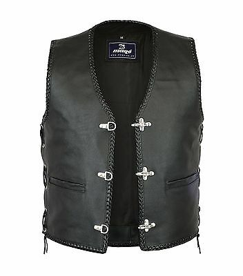 Mens Motorbike Leather Waistcoat Vest Side Laced with Fish Hook Buckles