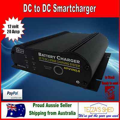 Dual Battery DC TO DC 20AMP 12V 3 STAGE SMART CHARGER Power Train 4x4 Caravan