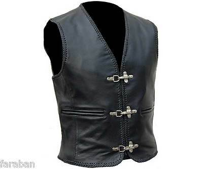 Mens Motorbike Motorcycle Leather Waistcoat Vest with Fish Hook Buckles