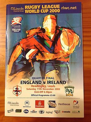 England v Ireland World Cup 2000 Quarter-Final Rugby League Programme