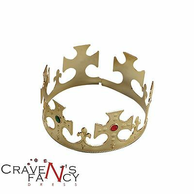 King's Crown Queen's Crown Royal Fancy Dress Prince Charming Gold Fairytale