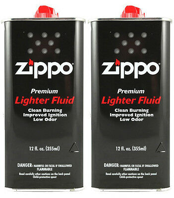 2 Cans Zippo Premium Lighter Fluid 12 fl oz. (355ml) For Zippo Lighters